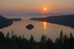 Sunrise Lake Tahoe-02. Image at sunrise over Lake Tahoe taken from Emerald Bay Royalty Free Stock Photo