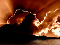 Sunrise Lake Tahoe. Dramatic clouds with sun halation over Lake Tahoe Stock Photos