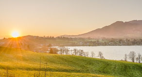 Sunrise in  lake tegernsee, alps Germany Royalty Free Stock Photos