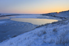 Sunrise lake in winter Stock Image