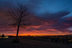 Sunrise in Lakewood, Colorado. Green Mountain open space, in Lakewood, Colorado royalty free stock image