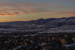 Sunrise in Lakewood, Colorado. Subdivision on the side of Green Mountain, Lakewood, Colorado stock photos