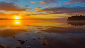 Sunrise at lale in Finland stock footage