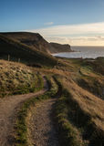 Sunrise landscape along coastal path UNESCO World Heritage Site Royalty Free Stock Photography
