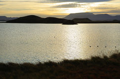 Sunrise landscape around Lake Myvatn Stock Photography