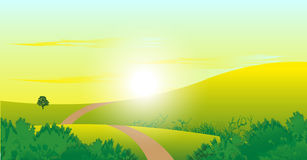 Sunrise Landscape. Landscape background illustration of a morning sunrise Royalty Free Stock Images