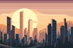 Sunrise landscape in city. With tall skyscrapers. Vector flat illustration Stock Photos