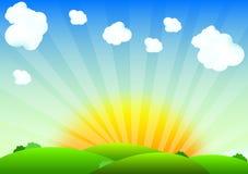 Sunrise. Landscape with clouds illustration stock illustration