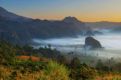 Sunrise landscape and the mist covering field at Phu Lang Ka,Thailand. Royalty Free Stock Photo