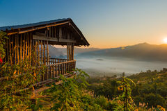 Sunrise landscape and the mist covering field at Phu Lang Ka,Thailand. Stock Photography