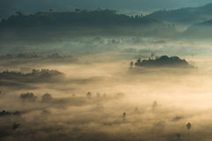 Sunrise landscape and the mist covering field at Phu Lang Ka,Thailand. Royalty Free Stock Image