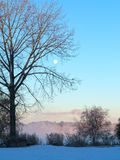 Sunrise landscape with moon Royalty Free Stock Images