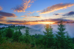 Sunrise Landscape at mountains. Royalty Free Stock Photos