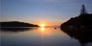 Sunrise landscape over  Sandspit beach New Zealand Royalty Free Stock Photo