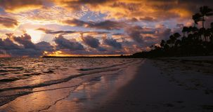 Sunrise landscape of paradise tropical island beach Punta Cana, Dominican Republic stock video
