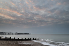 Sunrise landscape of pier under construction and development Royalty Free Stock Photography