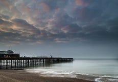 Sunrise landscape of pier under construction and development Stock Images