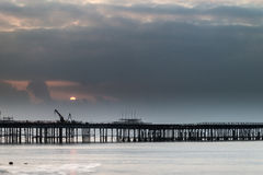 Sunrise landscape of pier under construction and development Royalty Free Stock Image