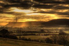 Sunrise landscape with power station in hdr 1 Royalty Free Stock Photography