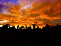 Sunrise landscape in Tanzania. Picturesque sunrise landscape over wilderness in Tanzania stock photo