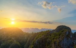 Sunrise landscape tropical. Sunrise on green jungle and blue sky landscape tropical stock photo