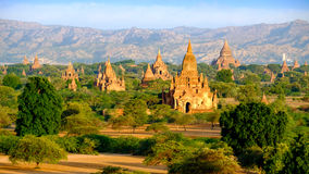 Sunrise landscape view of beautiful old temples in Bagan, Myanma Royalty Free Stock Photo