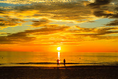 Sunrise. On the Lang Co beach, Hue, Vietnam Royalty Free Stock Images