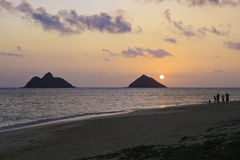 Sunrise at lanikai beach Royalty Free Stock Photo