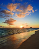 Sunrise at lanikai beach in hawaii. A Pacific sunrise in September at lanikai beach in hawaii Royalty Free Stock Images