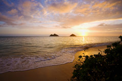 Sunrise at lanikai beach in Hawaii Stock Image