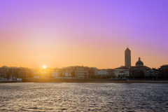 Sunrise in Las Arenas beach in Getxo Royalty Free Stock Photo