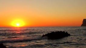 Sunrise on `Las Rotas` beach in Denia stock video