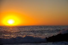 Sunrise on Las Rotas beach in Denia stock photos