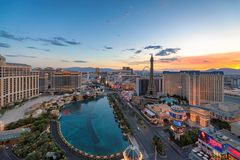 Sunrise at Las Vegas Strip. Sunrise at World famous Vegas Strip on July 26, 2018 in Las Vegas, USA. The Strip is home to the largest hotels and casinos in the royalty free stock images