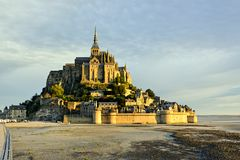 Sunrise in Le Mont Saint-Michel royalty free stock photo