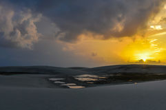 Sunrise in Lencois Maranheses, Brazil Royalty Free Stock Images