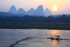 Sunrise on the Li River Stock Photos