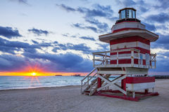 Sunrise with lifeguard towe Royalty Free Stock Photos