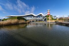 Entrance of Madurodam reflection on the fountain stock photos