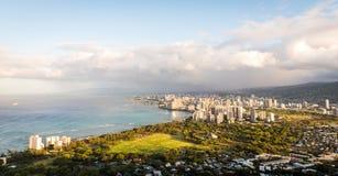 Sunrise light over Honolulu in Hawaii. Morning light shines over Honolulu of Oahu in Hawaii Stock Photography