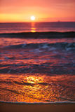 Sunrise Light Shining On Ocean Wave Stock Photography