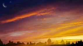 Sunrise . Light from sky . Religion background . Crescent moon with beautiful sunset background . Generous Ramadan . Dramatic nature background . Sunset or royalty free stock images