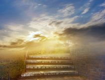 Sunrise . Light from sky . Religion background . Steps leading up to the sun . Way to God . bright light from heaven . Religious background . Light from sky stock image