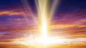 Sunrise . Light from sky . Religion background . Sunset . Sunlight pierces through the clouds . Background sky at sunset and dawn . Flare stock image