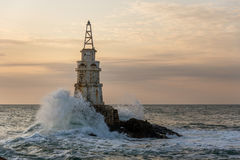 Sunrise at the lighthouse in Ahtopol, Bulgaria Royalty Free Stock Photography