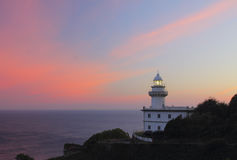 Sunrise at the Lighthouse Igueldo in Donostia. Stock Images