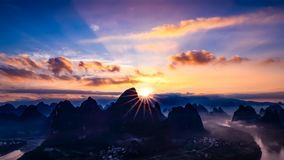 The sunrise of the Lijiang River stock images
