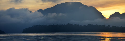 Sunrise with Limestone rocks mountain in morning time at al Khao Stock Photos