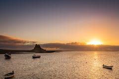 Sunrise at Lindisfarne Stock Images