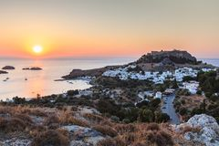 Sunrise in the Lindos. Rhodes island, Greece royalty free stock photography